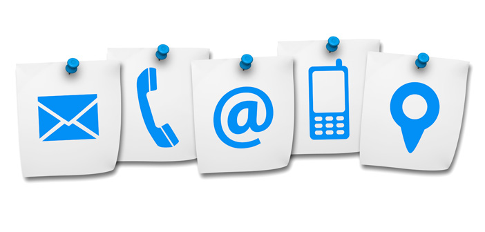 Icons for Email, Phone, Social Media, and Location